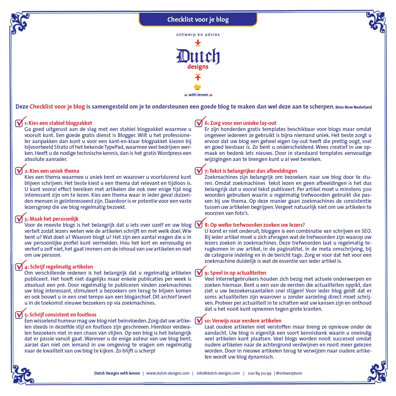 Tips blog, checklist blog